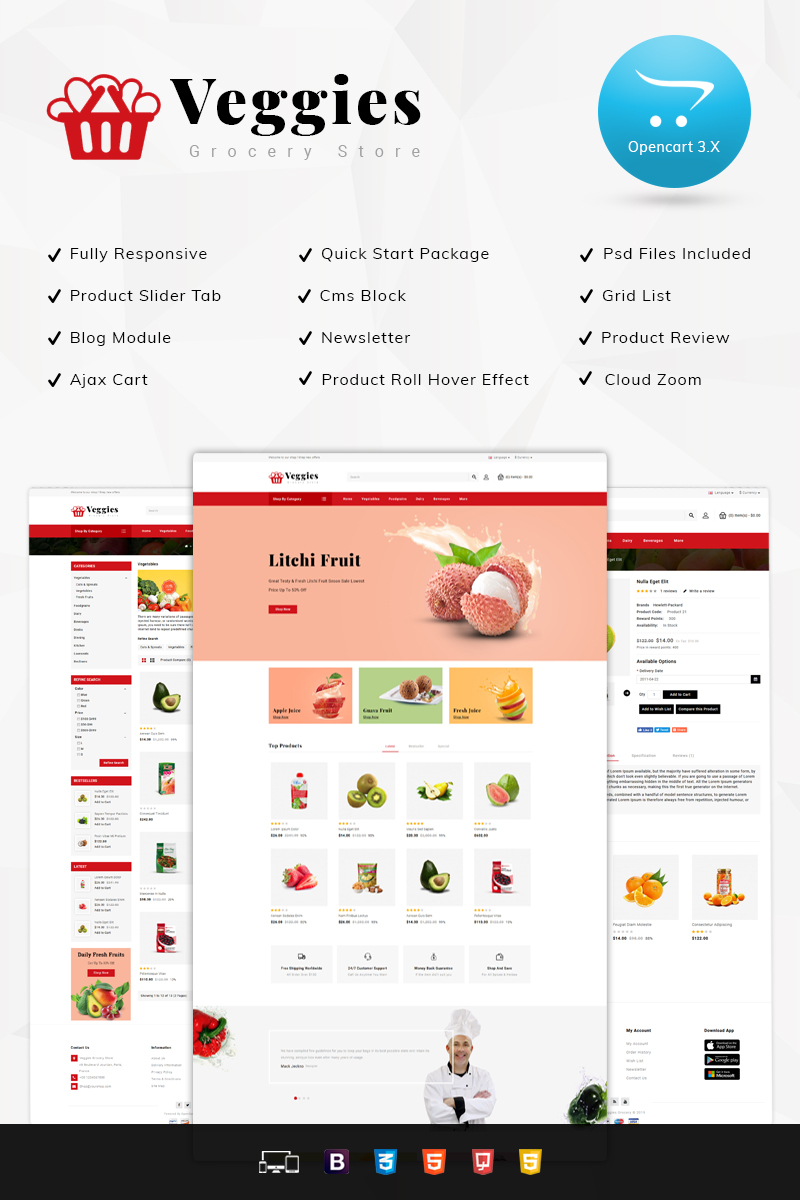 Veggies Grocery Store OpenCart Template