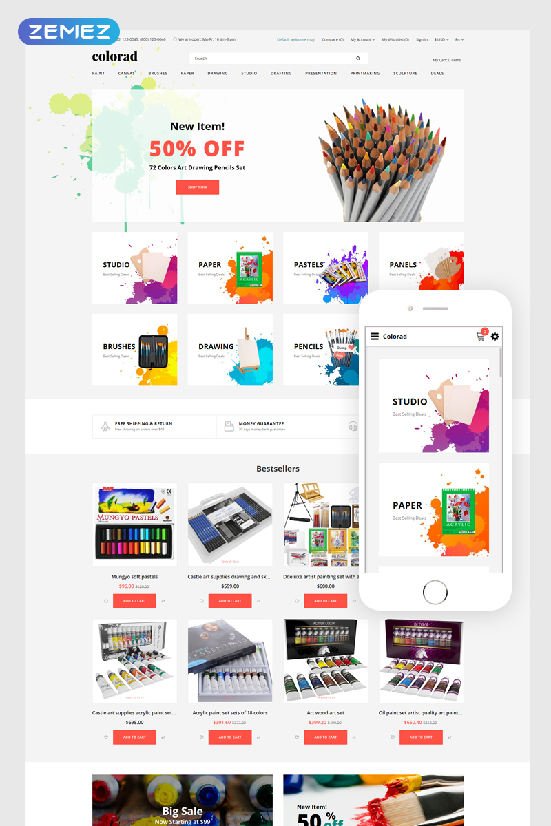 Colorad - Art Store Clean OpenCart Template