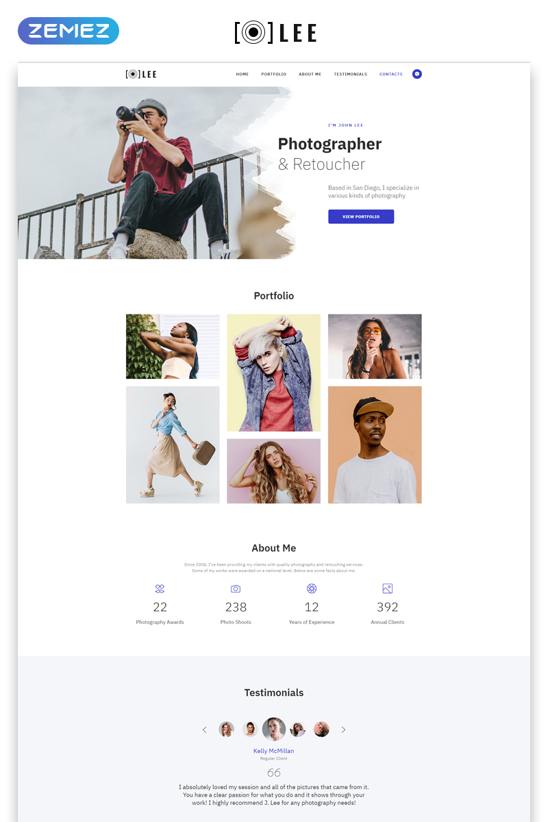 Lee - Photographer Portfolio Minimal HTML5 Landing Page Template