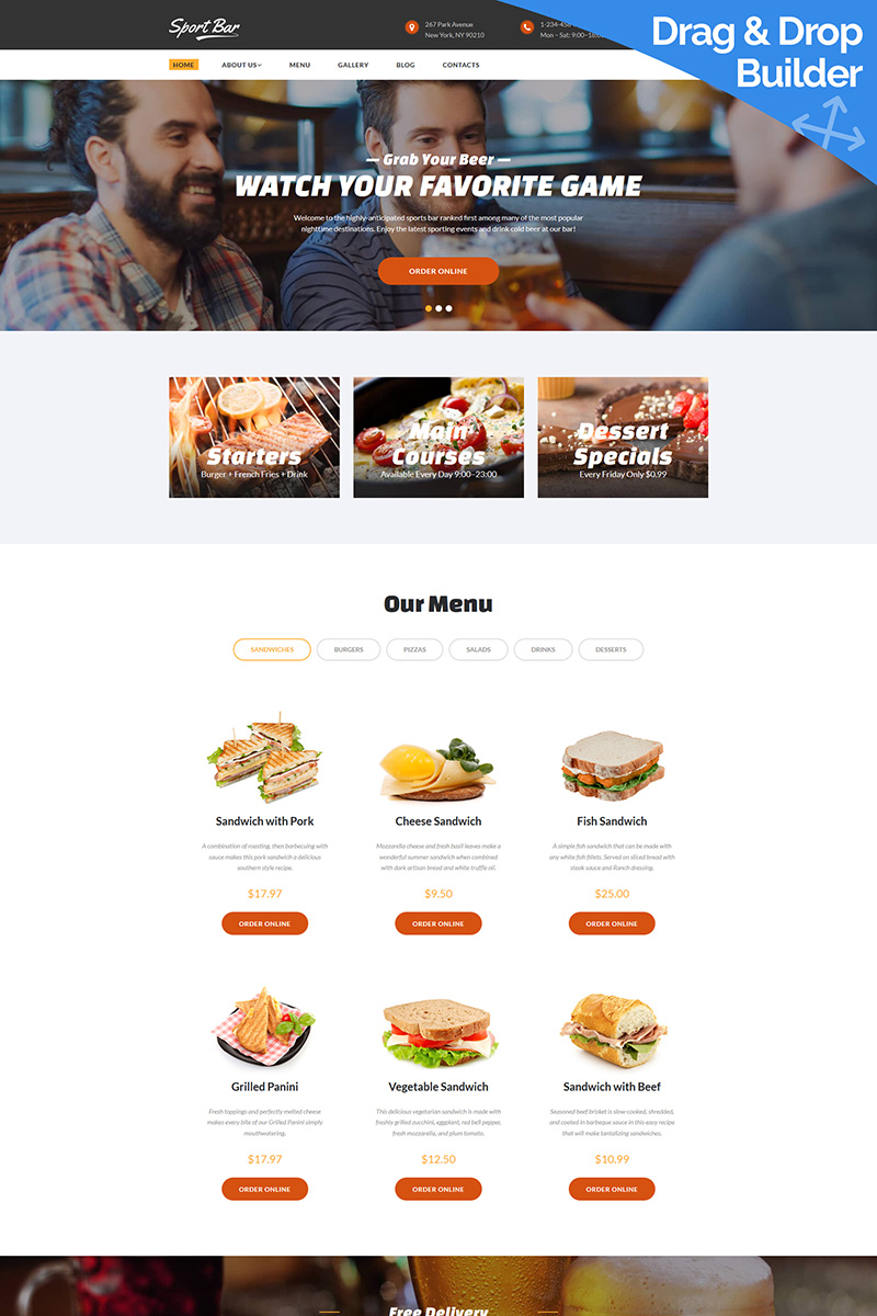 Sports Bar & Restaurant Moto CMS 3 Template