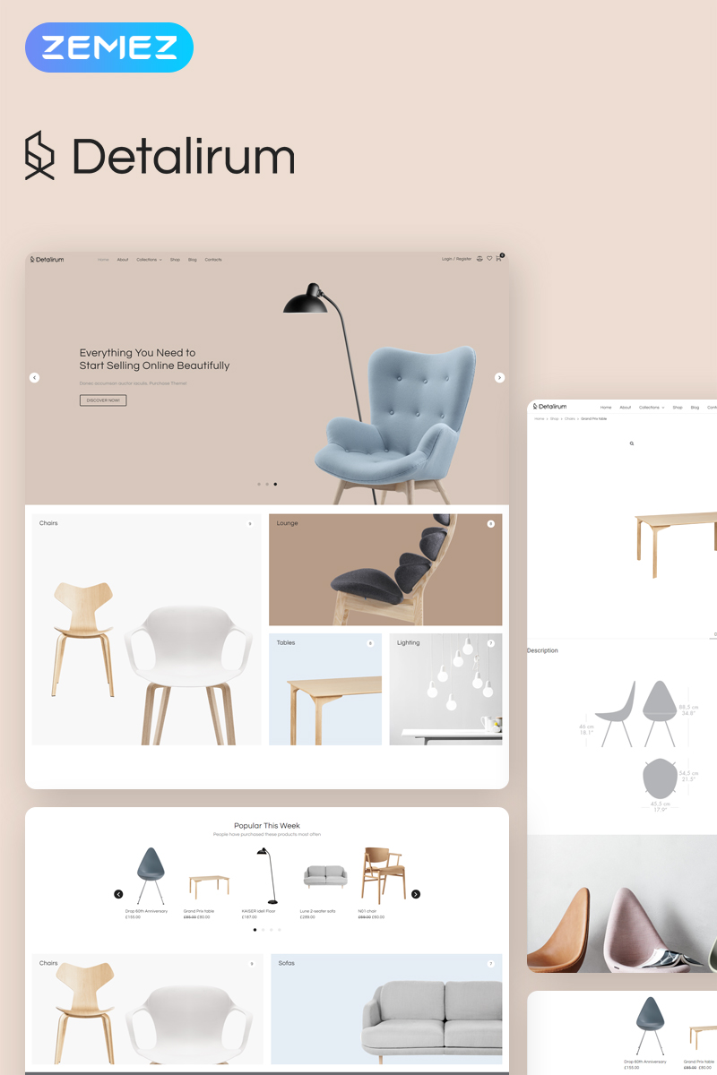 Detalirum - Furniture Design ECommerce Minimal Elementor WooCommerce Theme