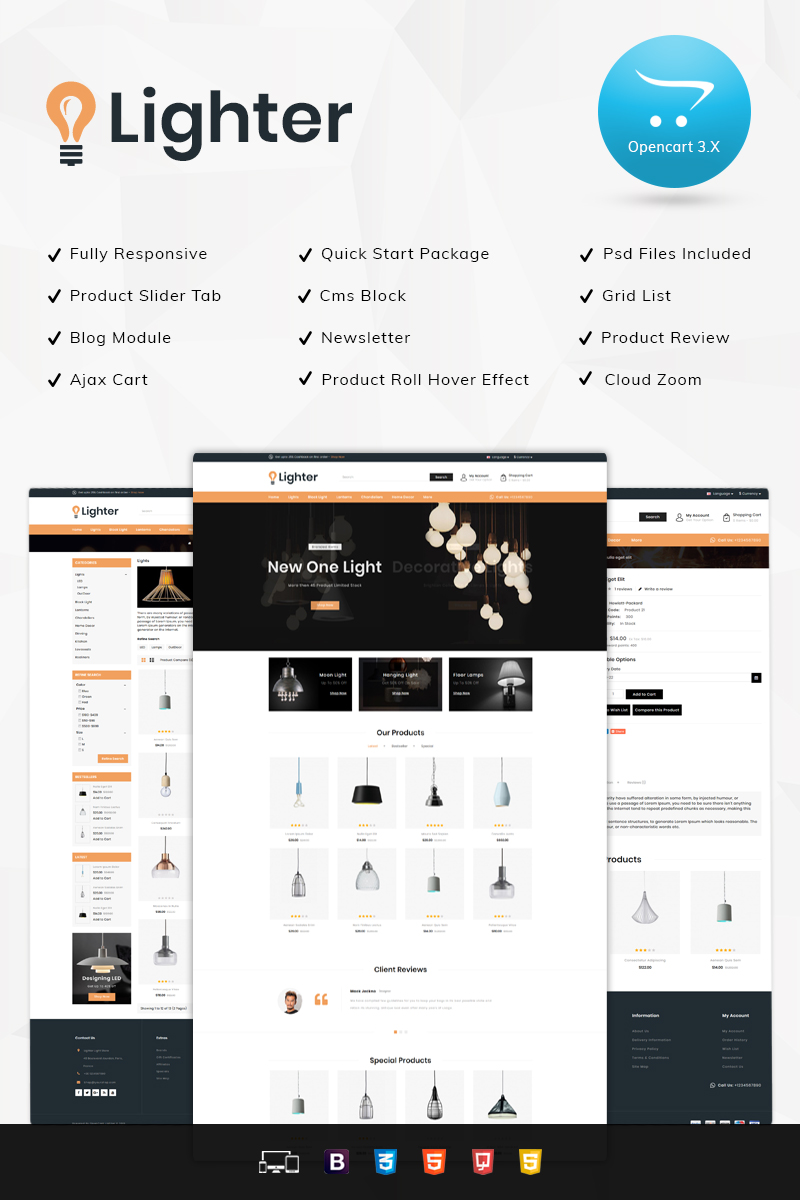 Lighter Light Store OpenCart Template