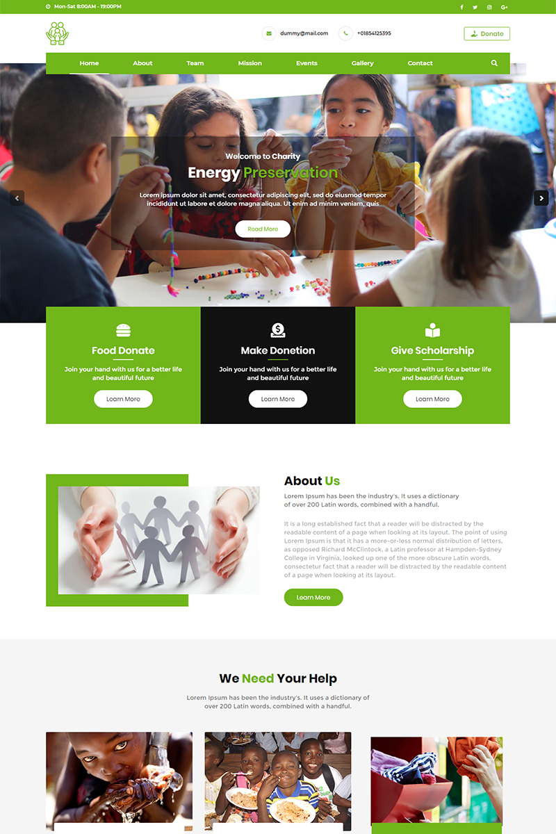 Helping Hands Charity Landing Page Template