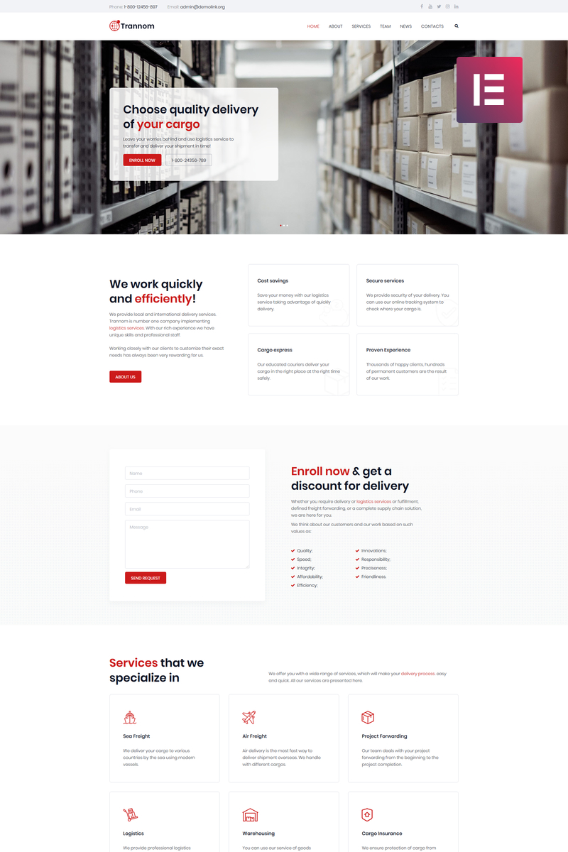 Trannom - Logistics Multipurpose Minimal Elementor WordPress Theme