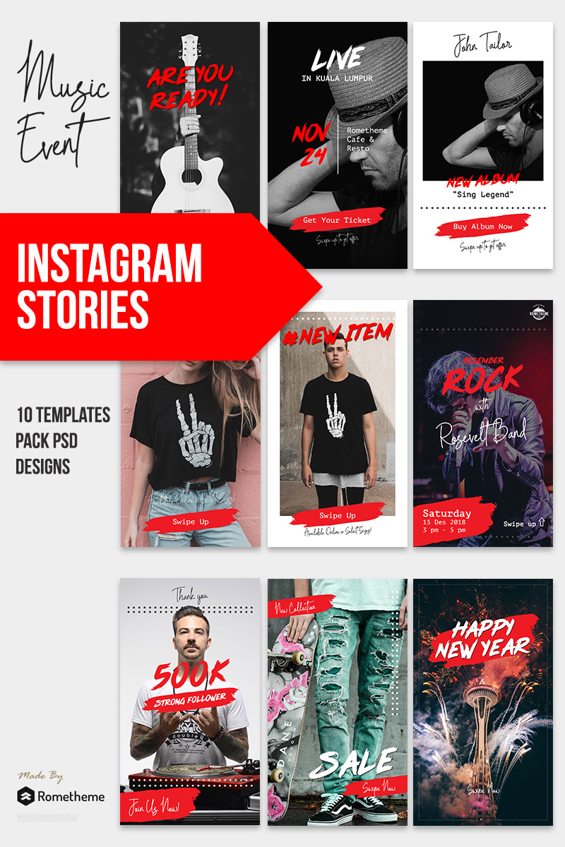 Music & Event - Instagram Stories Red & Black Theme Template