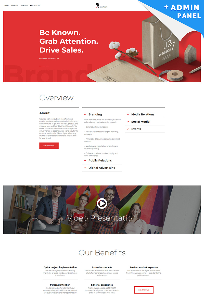 PR Company Landing Page Template
