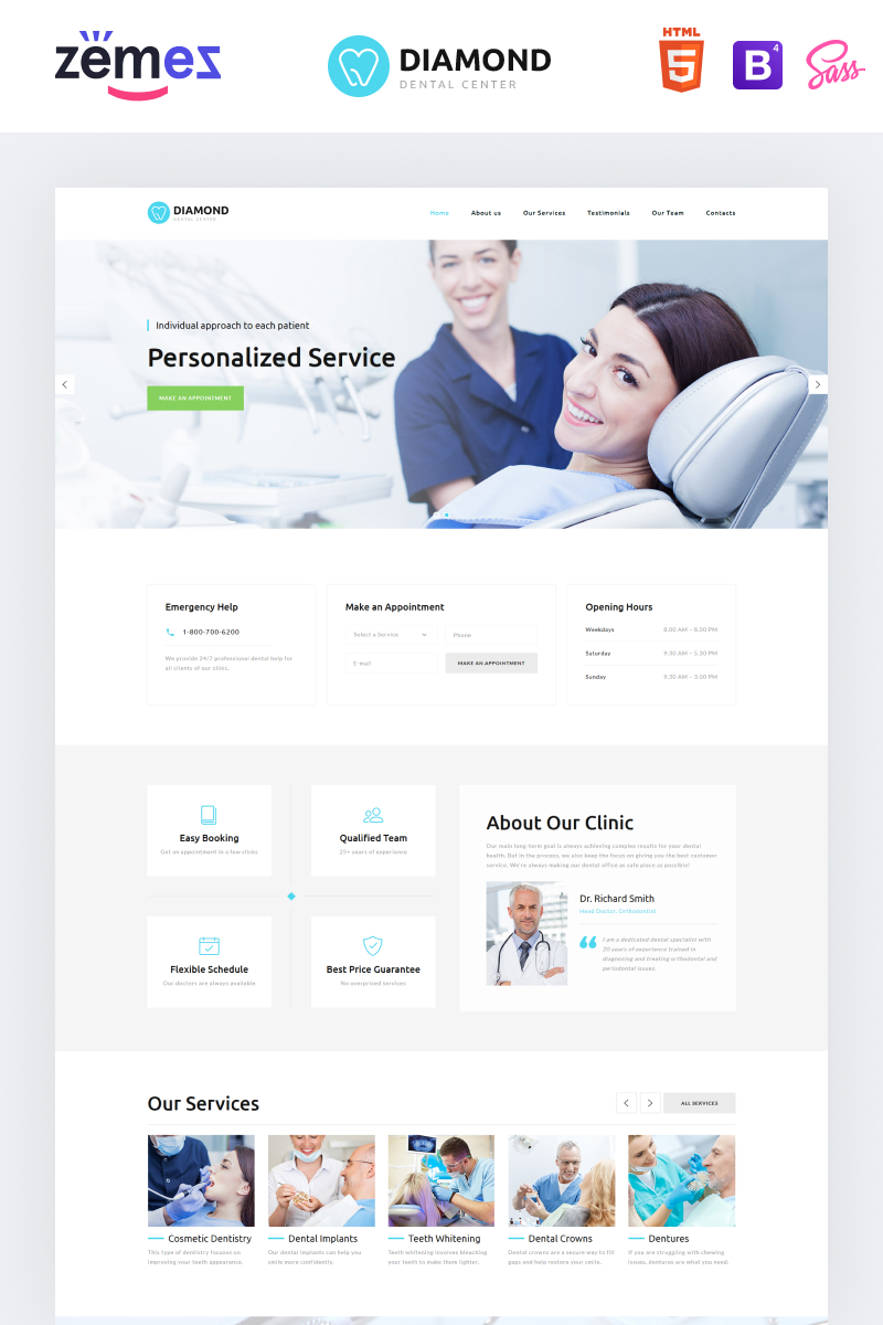 Diamond - Dentistry Clean HTML Bootstrap4 Landing Page Template
