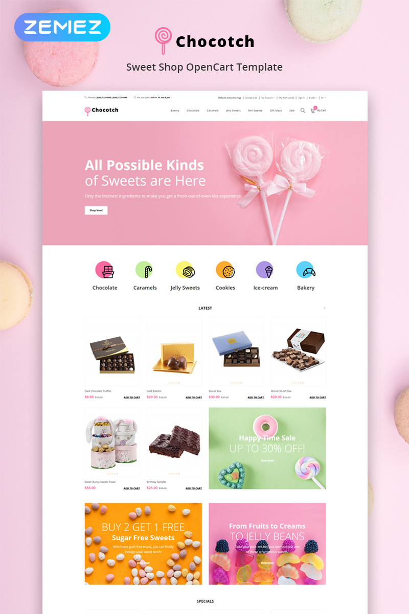 Chocotch - Sweet Shop E-commerce Creative OpenCart Template