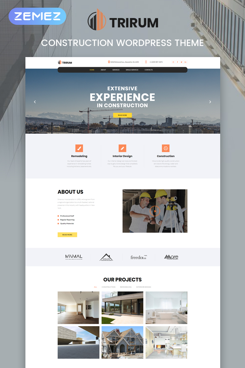 Trirum - Construction Multipurpose Modern Elementor WordPress Theme