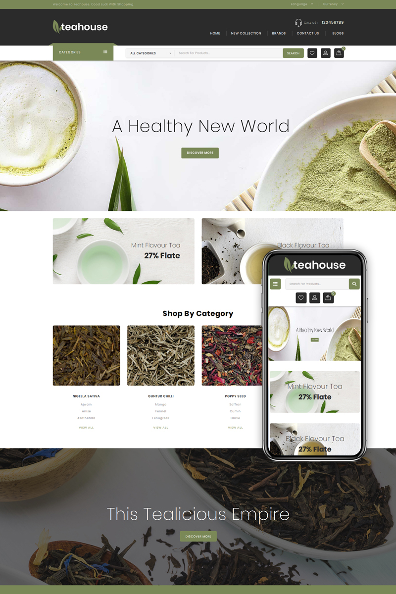 Teahouse - Food & Drinks Store OpenCart Template