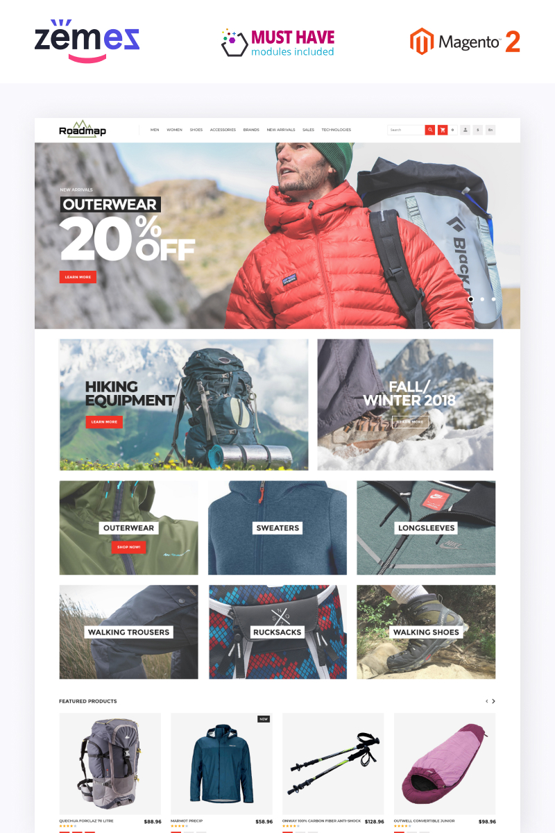 Roadmap - Outdoor Sports Gear Store Template Magento Theme