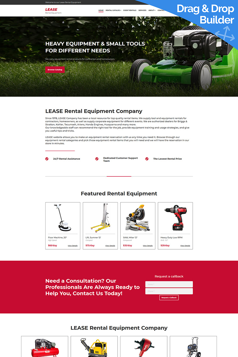 Lease - Tool Rentals Moto CMS 3 Template