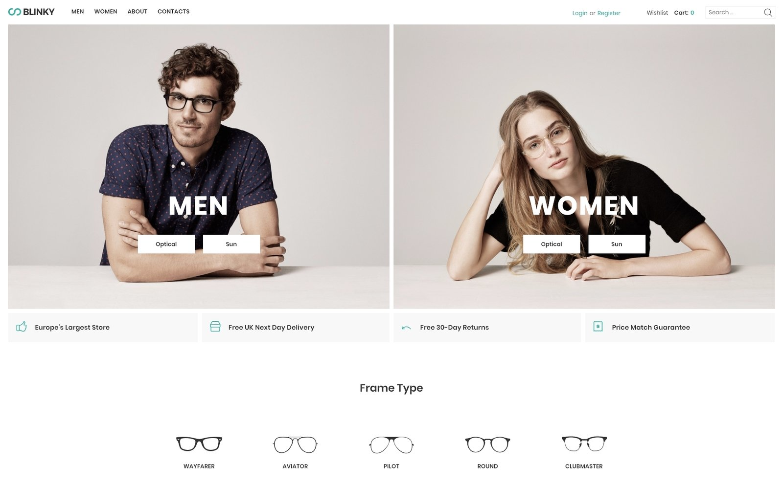 Blinky - Glasses Store ECommerce Minimal Elementor WooCommerce Theme