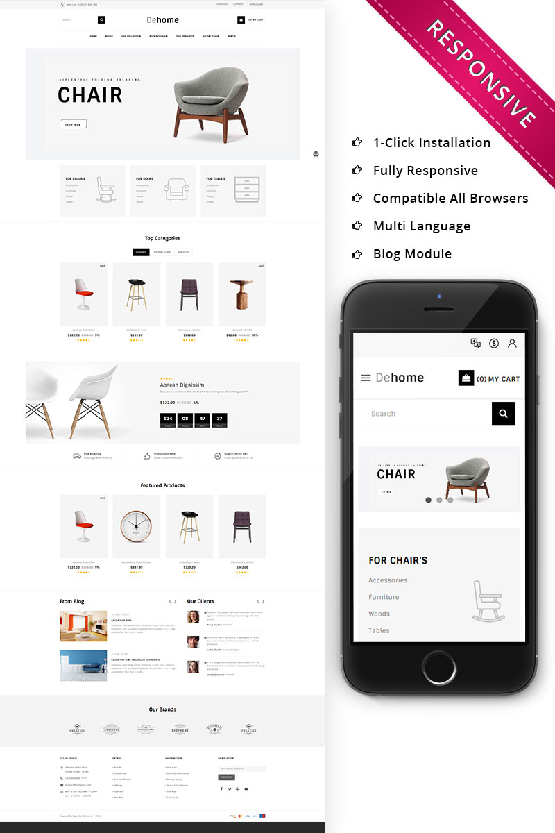 Dehome - The Furniture Store Responsive OpenCart Template