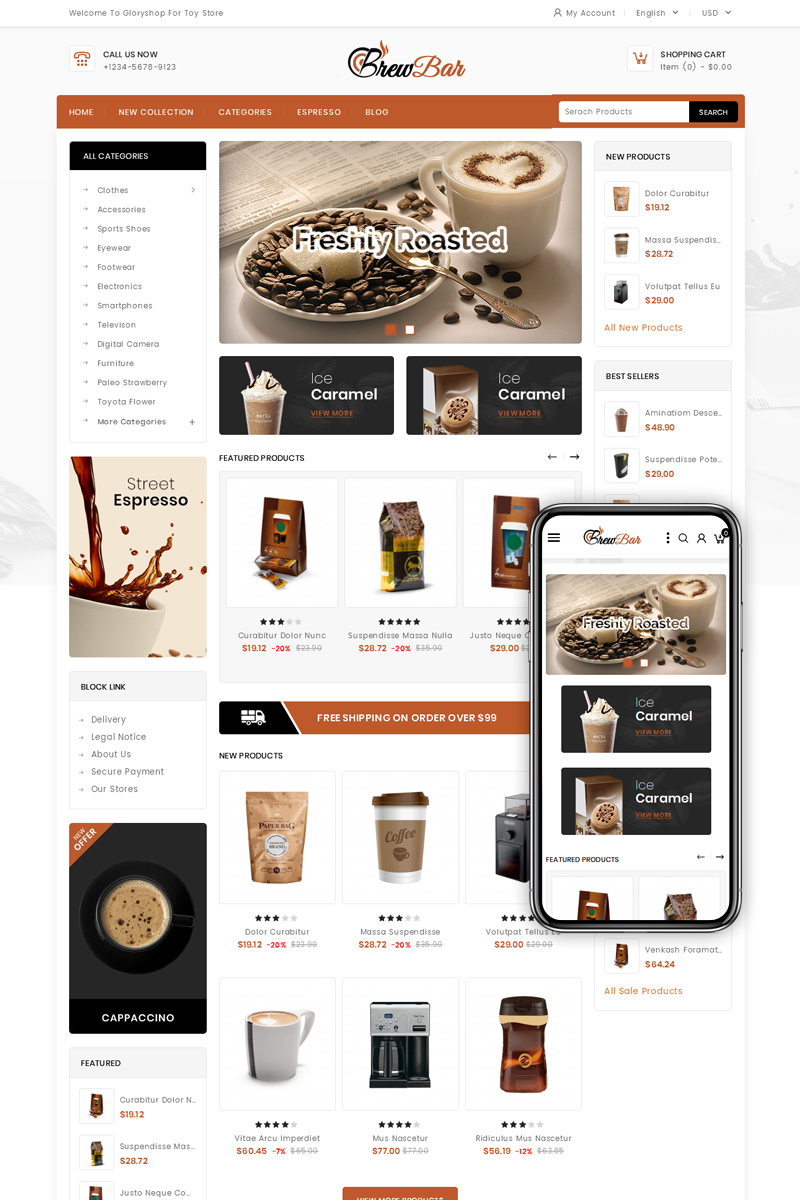 BrewBar - Coffee Shop PrestaShop Theme
