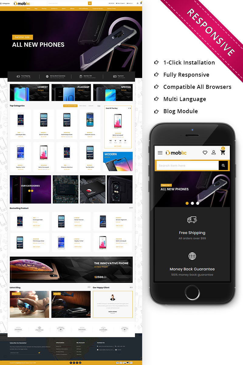 Moblic - The One Stop Mobile Shop Responsive OpenCart Template