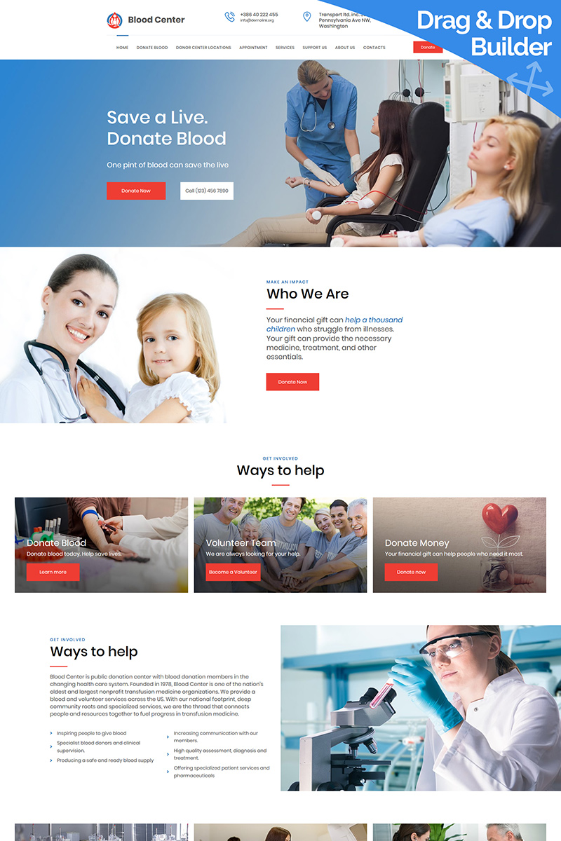 Blood Donation Moto CMS 3 Template