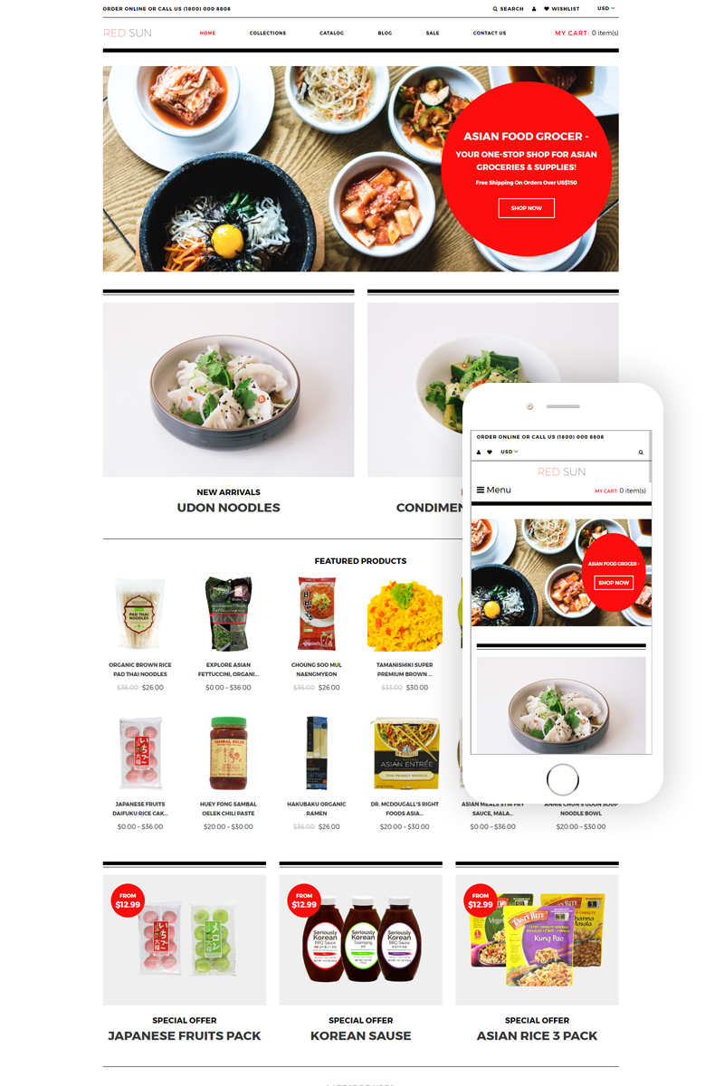 Red Sun - Grocery Store Clean Shopify Theme