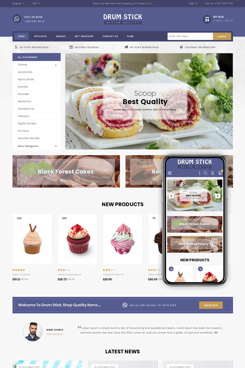 Drum Stick - Bakery Shop PrestaShop Theme