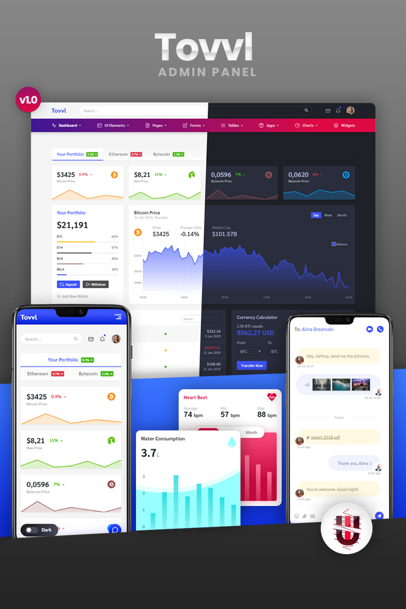 Tovvl - Bootstrap 4 Responsive Web & Dashboard Admin Template
