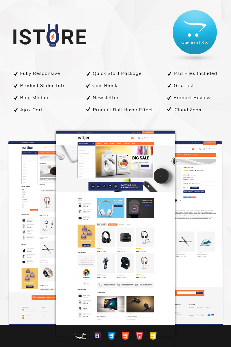 iStore - Electronic Shop OpenCart Template