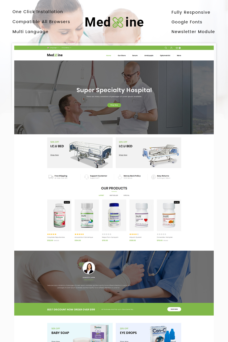 Medxine - Drugs Store OpenCart Template