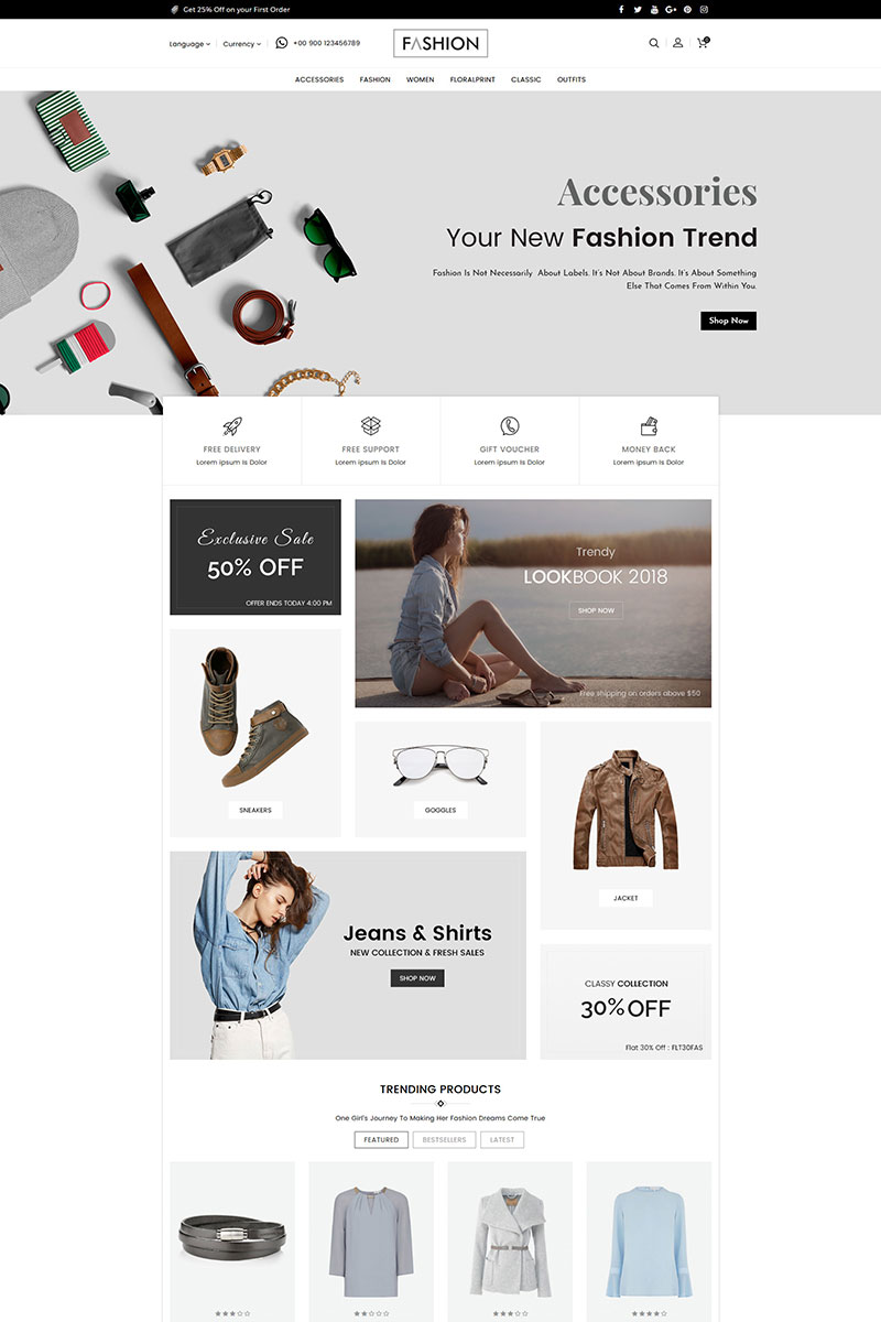 Fashion Clothing and Accessories OpenCart Template