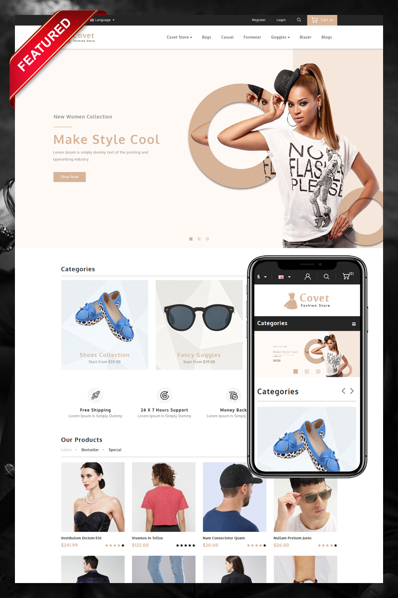 Covet Fashion Store OpenCart Template