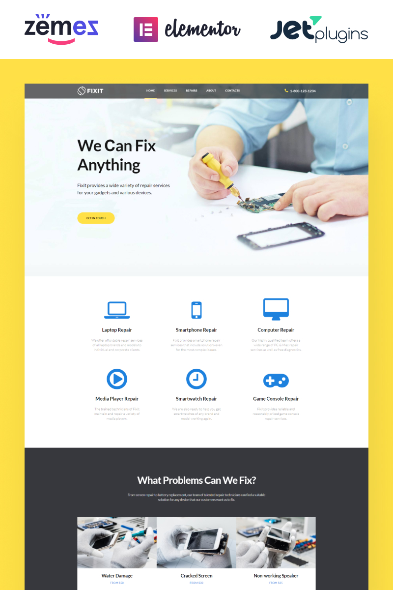 Fixit - Gadgets Repair Multipurpose Modern WordPress Elementor Theme