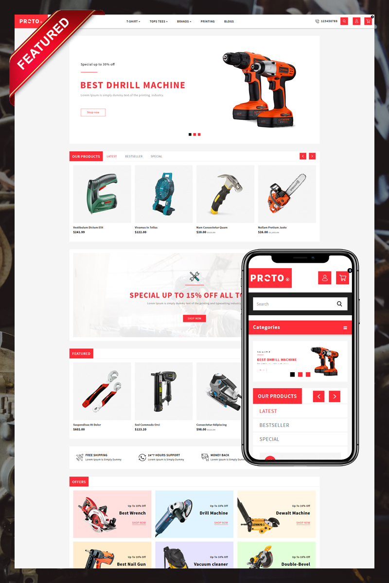 Proto Autoparts and Tools Store OpenCart Template