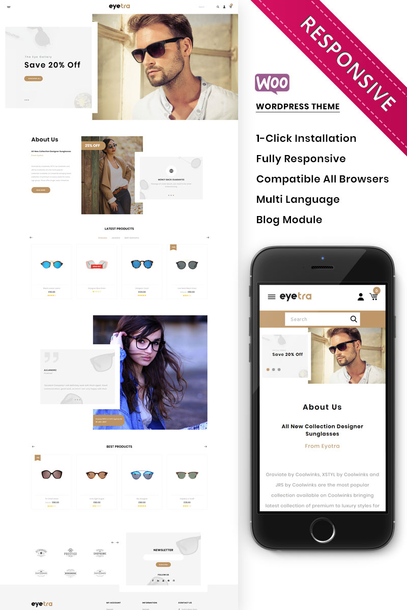 Eyetra - The Glasses Store WooCommerce Theme