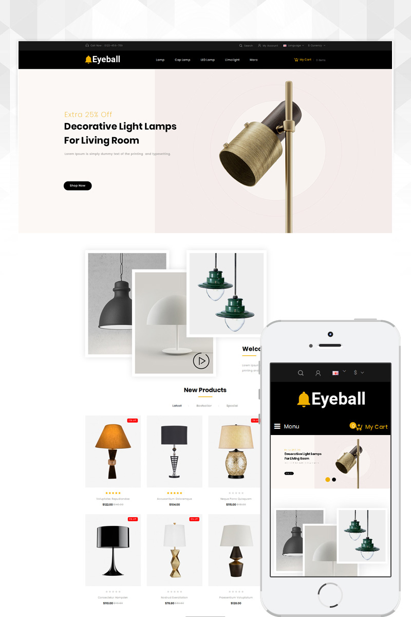 Eyeball Lighting Store OpenCart Template