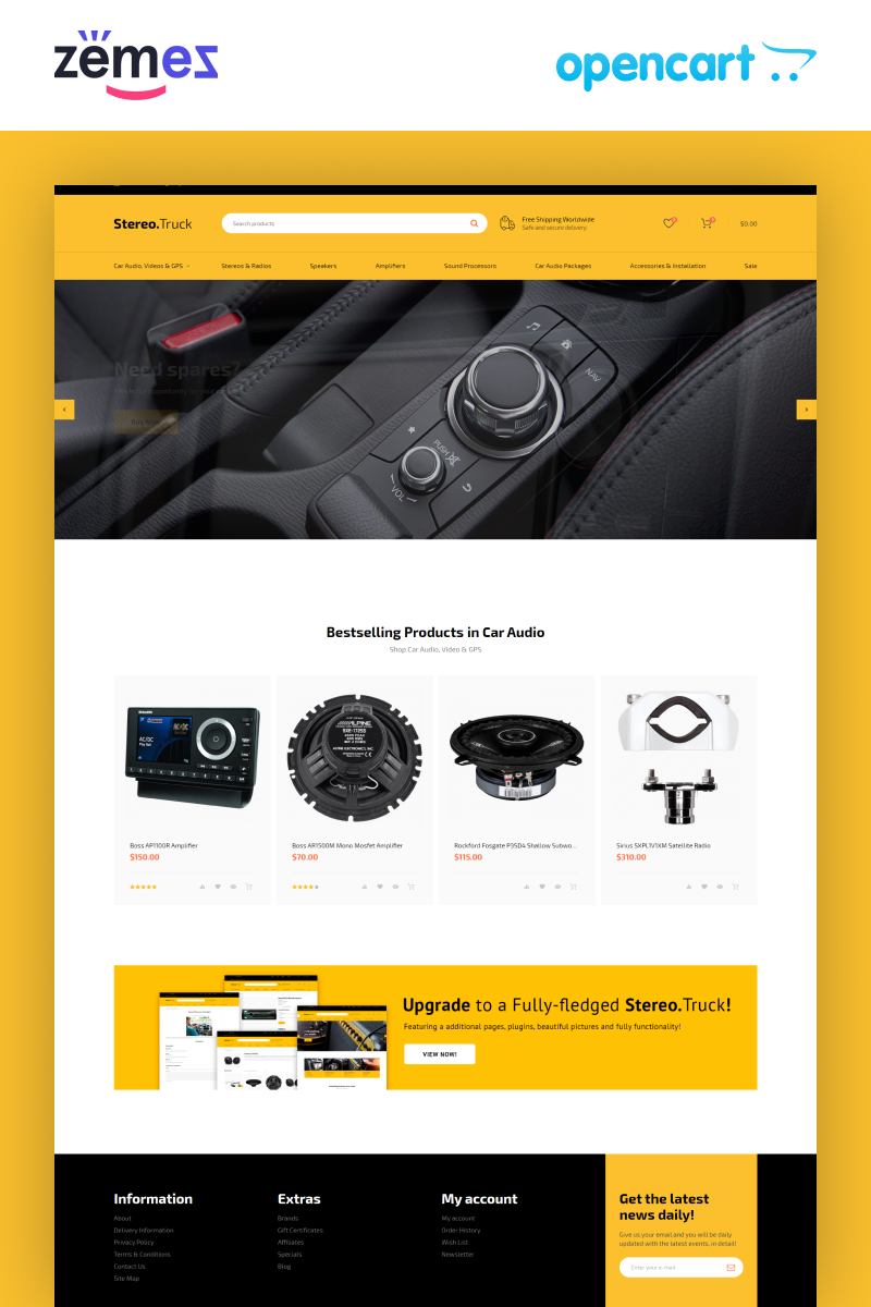 Stereo Truck - Car Audio E-commerce Clean OpenCart Template