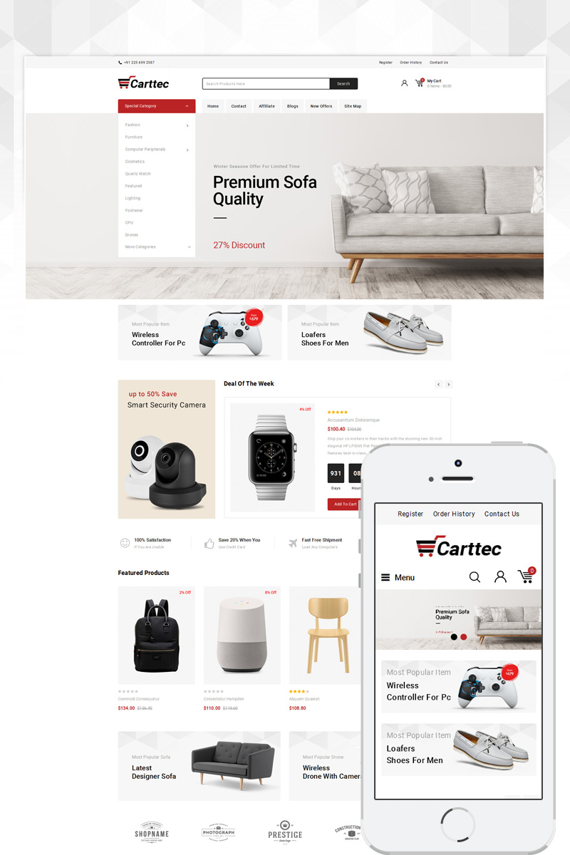 Carttec Accessories Store OpenCart Template