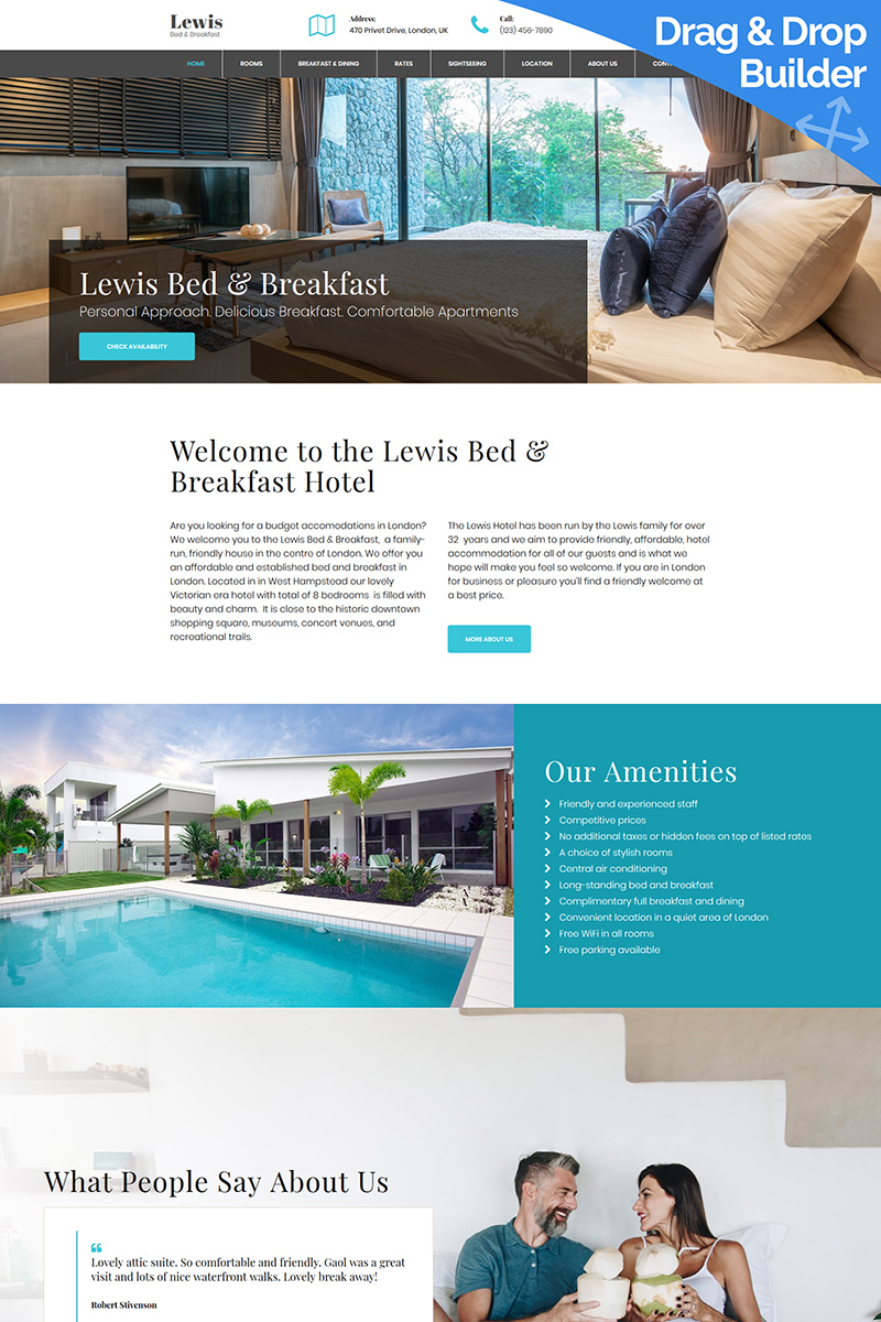 Lewis - Bed and Breakfast Moto CMS 3 Template