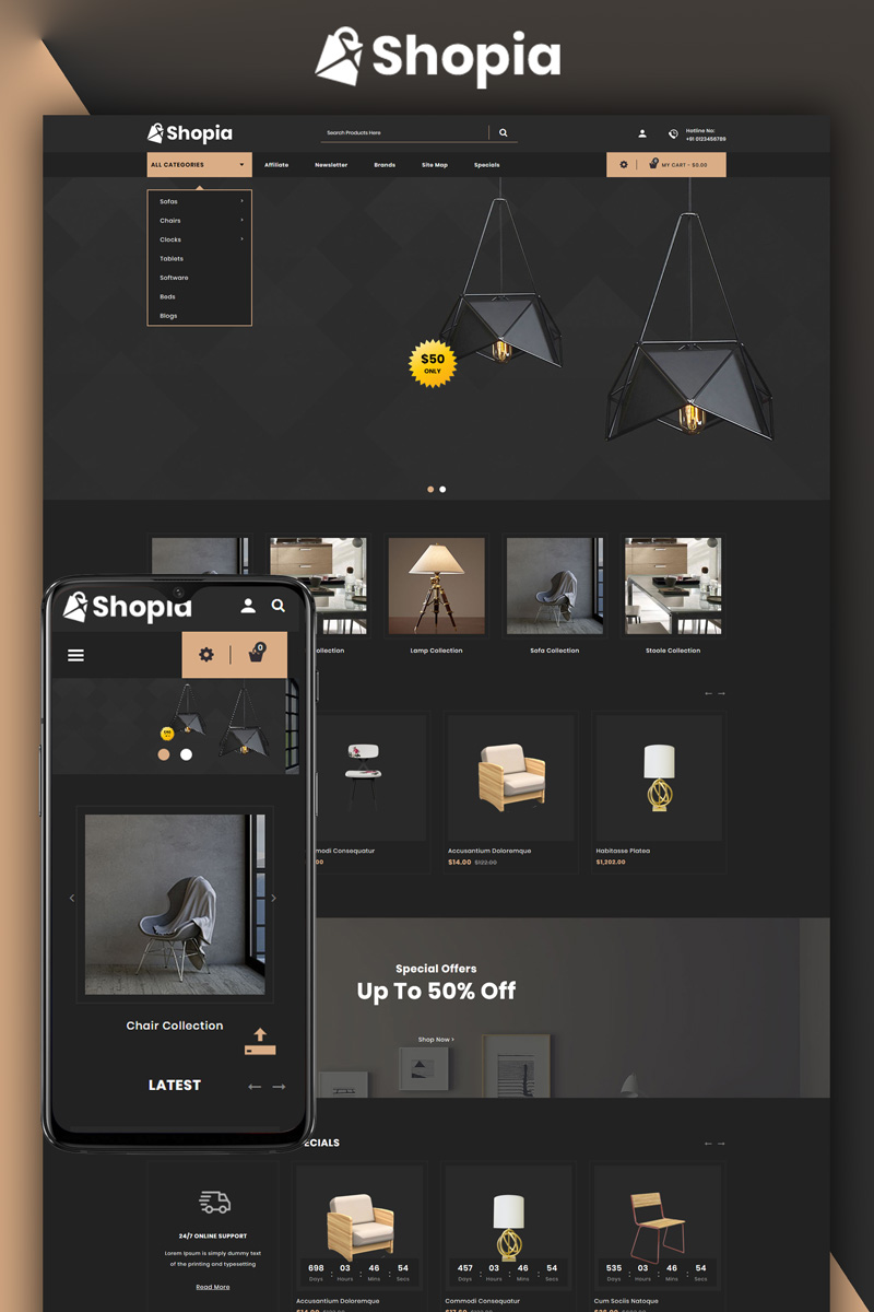 Shopia - Furniture Store OpenCart Template