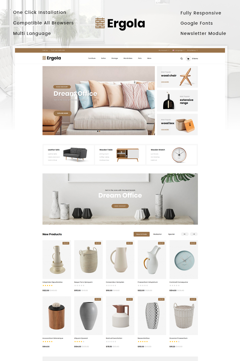 Ergola - Furniture Store OpenCart Template