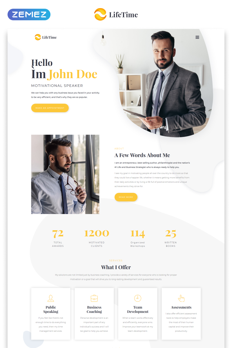 LifeTime - Motivational Speaker Clean Multipage HTML5 Website Template