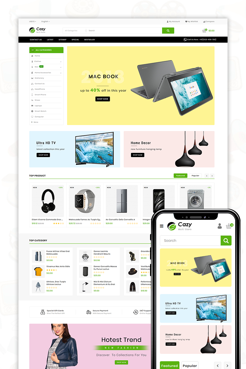 Cazy - The Shopping Mall OpenCart Template