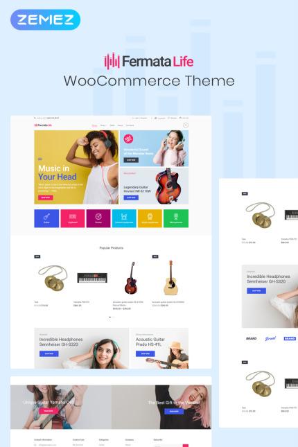 Tema para woocommerce - Categoría: Música - versión para Desktop