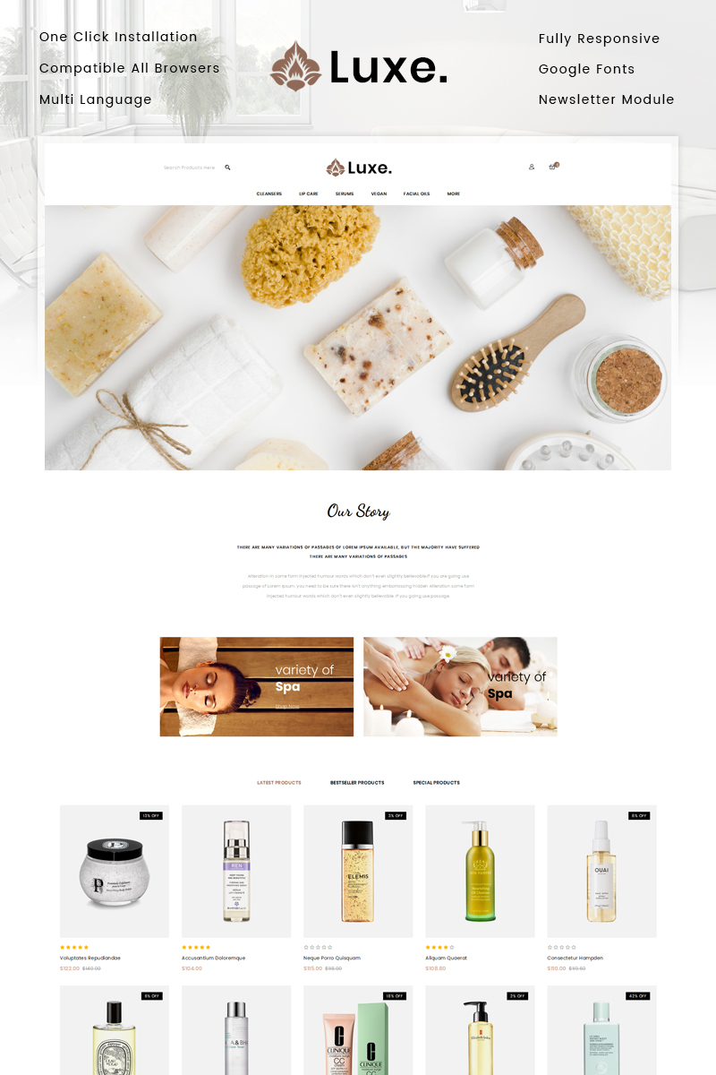 Luxe Spa Store OpenCart Template