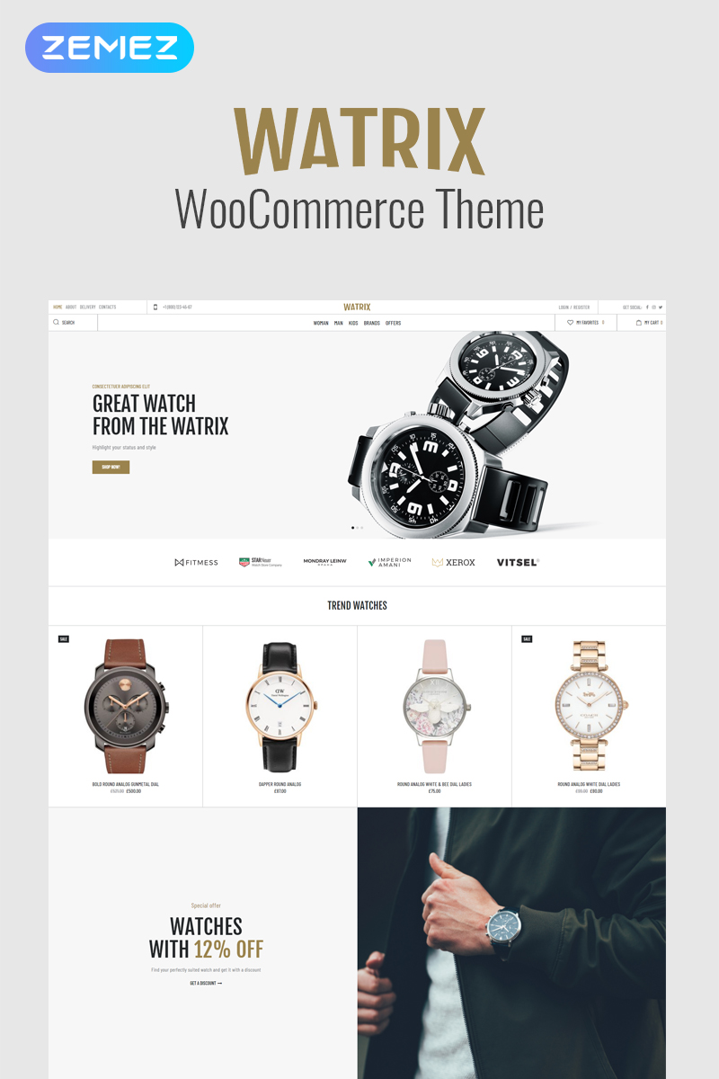 Watrix - Watch Shop ECommerce Classic Elementor WooCommerce Theme