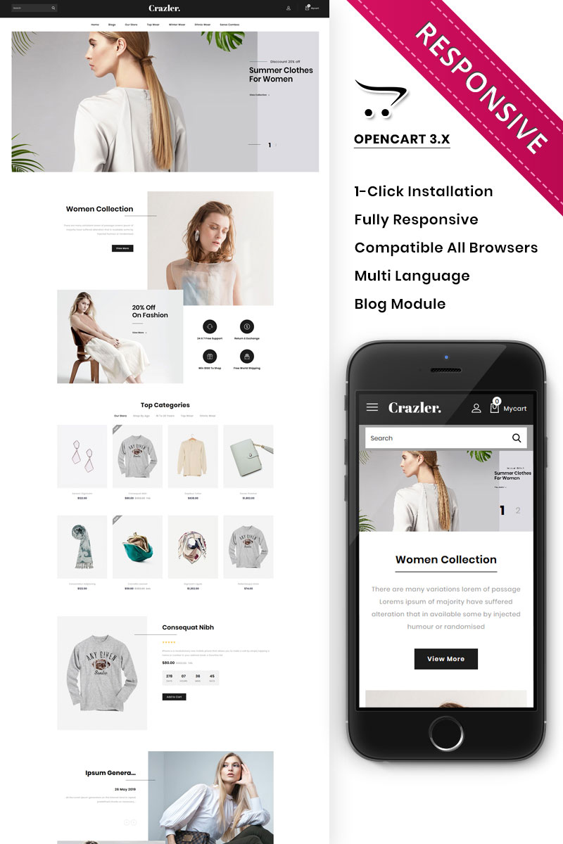 Crazler - The Fashion Store Responsive OpenCart Template