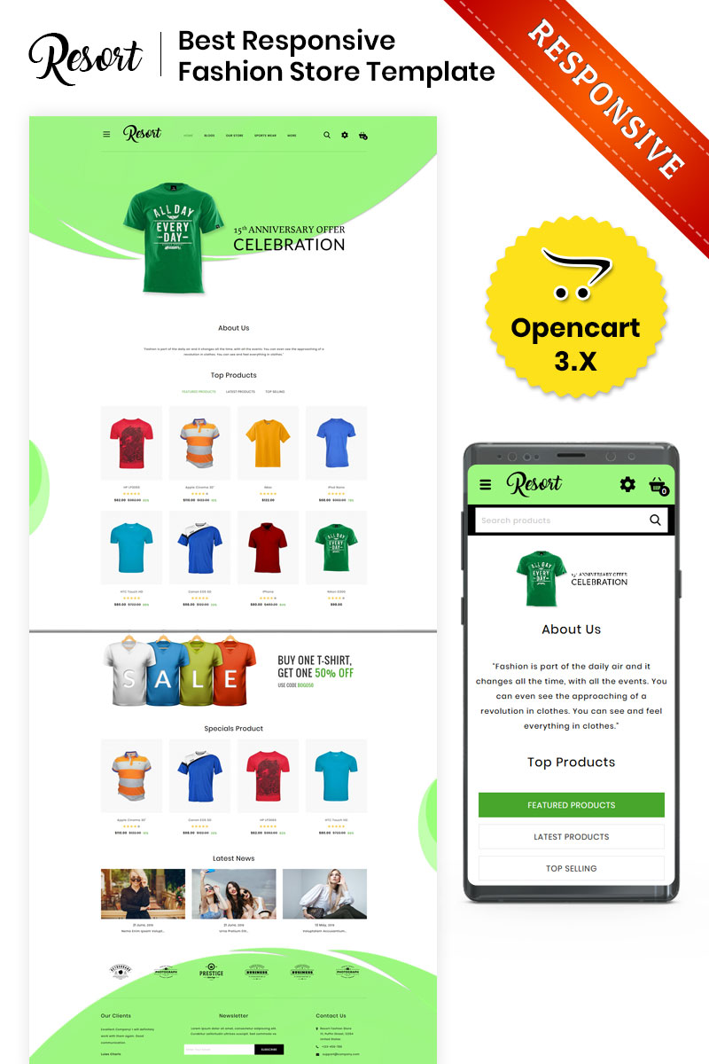 Resort - The Fashion Store OpenCart Template