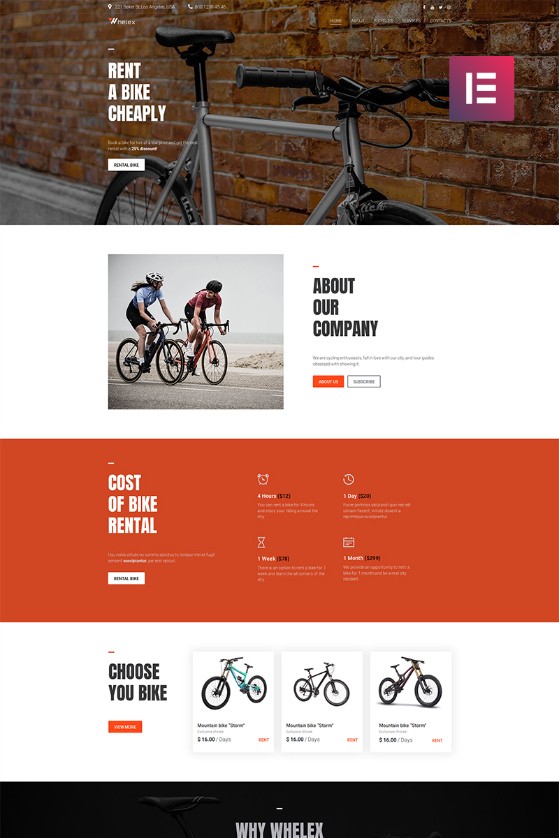 Whelex - Bike Rent Multipurpose Modern WordPress Elementor Theme