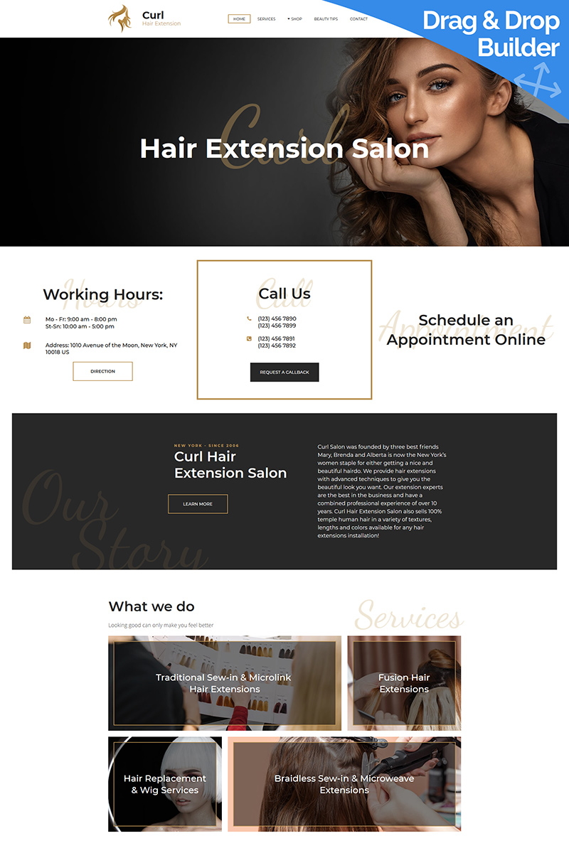 Curl - Hair Extension Moto CMS 3 Template