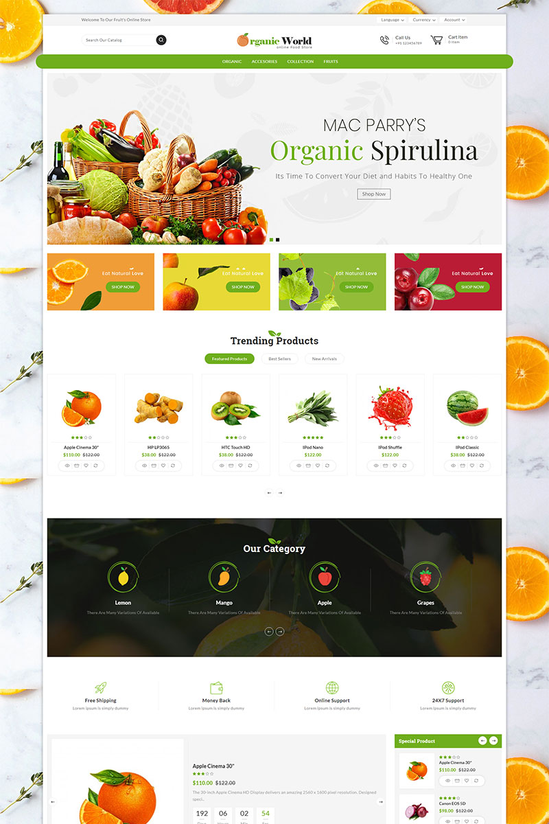 Organic World Grocery Store OpenCart Template