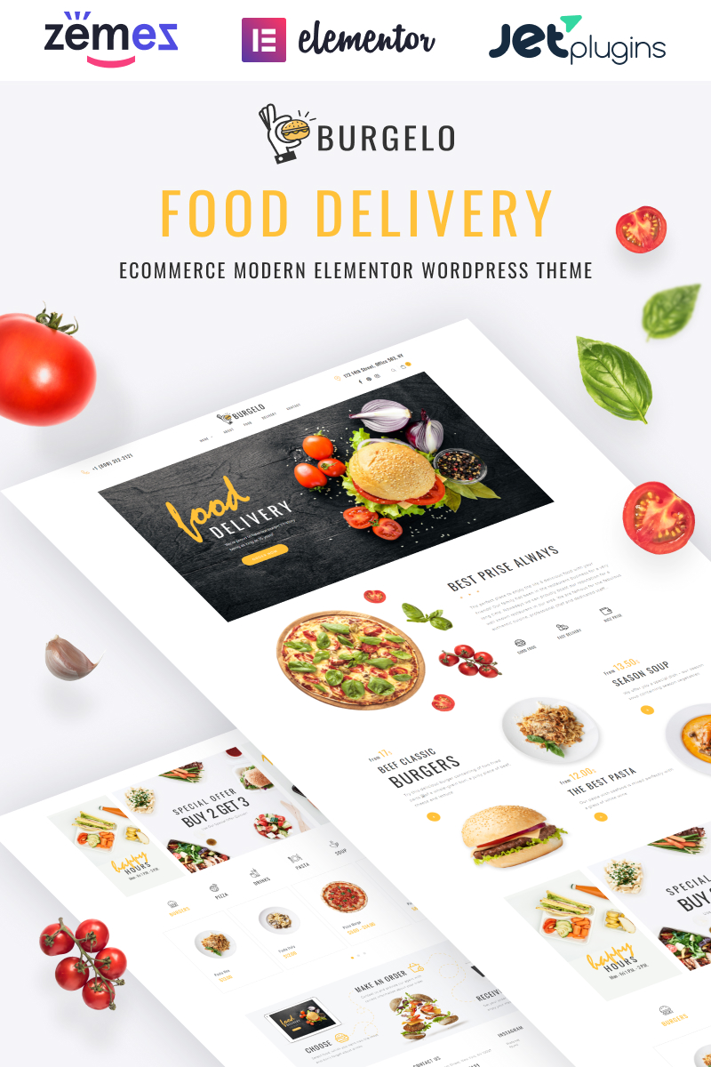 Burgelo - Food Delivery ECommerce Modern Elementor WooCommerce Theme