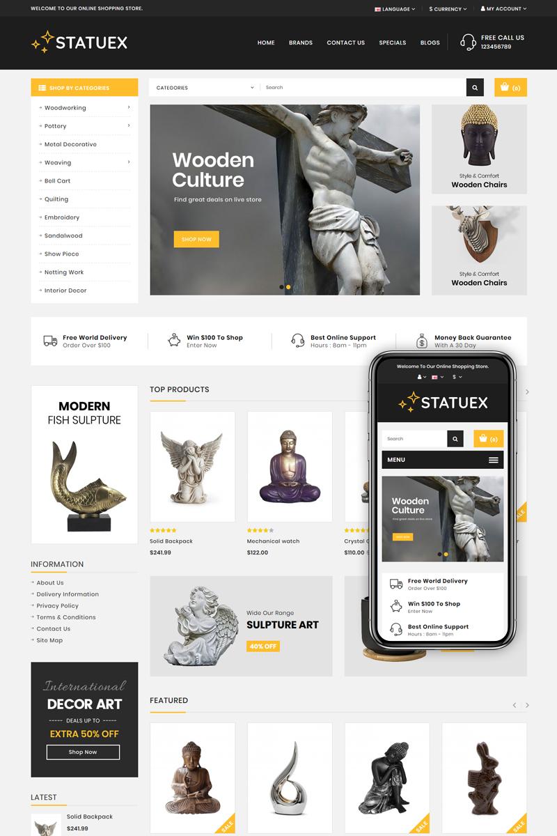 Statuex - Art Gallery Shop OpenCart Template