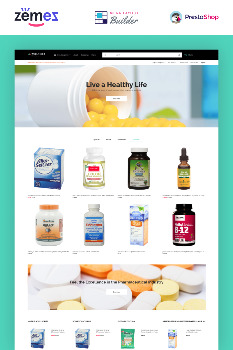 Wellneser - Medical Store Bootstrap Ecommerce Clean PrestaShop Theme